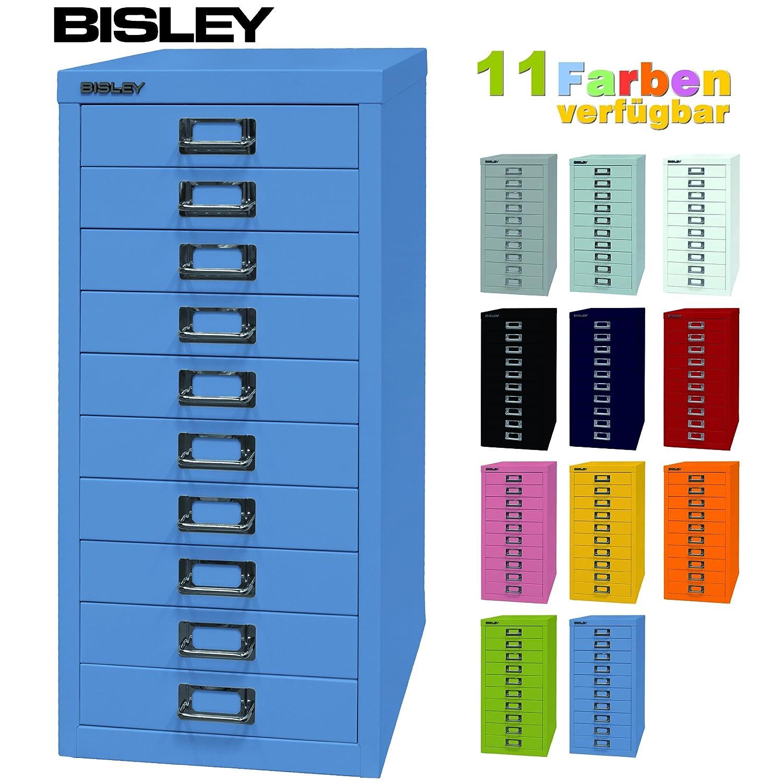 Bisley Schubladenschrank 29 aus Metall mit 10 Schubladen | Schrank für Büro, Werkstatt und Zuhause | Stahlschrank in 11 Farben (Pink)