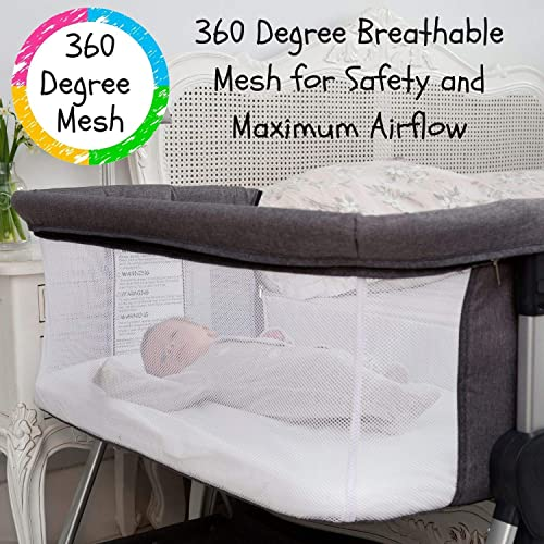 Bedside Bassinet for Baby Bedside Sleeper for Baby Allows Safe Cosleeping at Arms Reach Portable Baby Bed Includes Hypoallergenic Mattress Waterproof Fitted Crib Sheets CPSC Approved