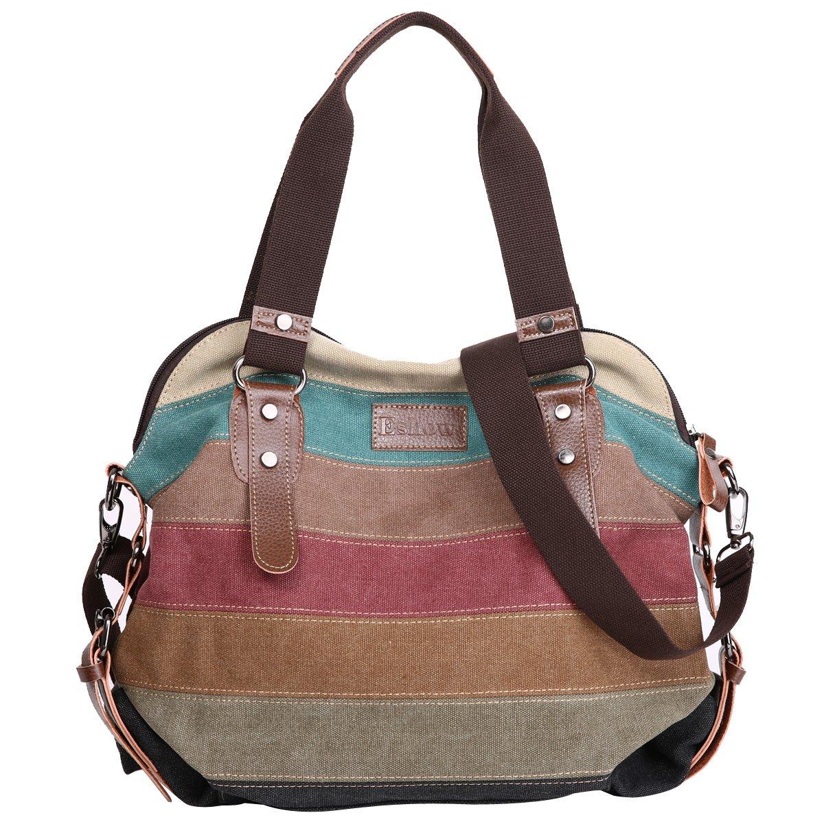 Eshow Women Canvas Shoulder Bag Hobo Handbags and Purse Cross-Body Bag Messenger Bag Travel mom bag for women