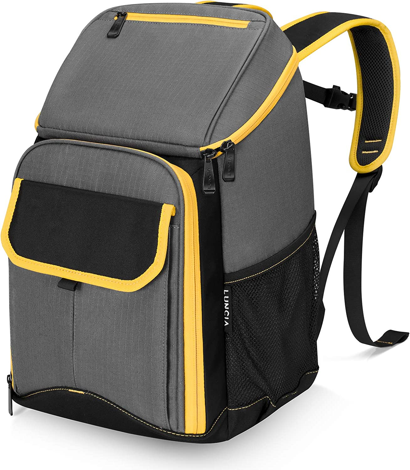 LUNCIA Cooler Backpack 18L 25-Can Waterproof Insulated Soft Collapsible Cooler Bag Sand-Free, Leakproof Soft-Sided Cooling Bag for Camping/Hiking/Beach/Picnic/Day Trips, Grey