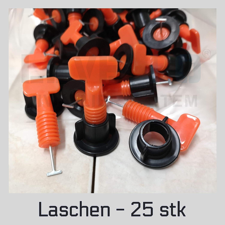 100 St/ück Twist Laschen Zuglaschen Wiederverwendbares Nivelliersystem Verlegen Fliesen Nivellierhilfe Levello 1,5-5 mm Verlegehilfe f/ür Fliesen H/öhe 3-18 mm