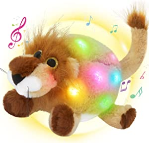 Bstaofy 12'' Musical Light up Round Stuffed Lion LED Soft Plush Toy with Night Lights Lullaby Songs Singing Wildlife Glow Birthday Christmas for Toddler Kids