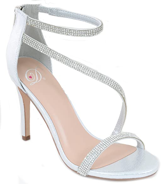 ea41b942e74d Image Unavailable. Image not available for. Color  Silver Metallic Jeweled  Strappy Platform Sandal Formal Heels Women s