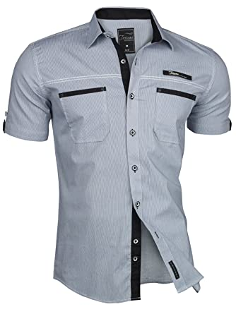 huge selection of a3783 ed9b9 Trisens Herren Hemd Kurzarm Gestreift Slim Fit Sommer Baumwolle Polo Style  Cotton