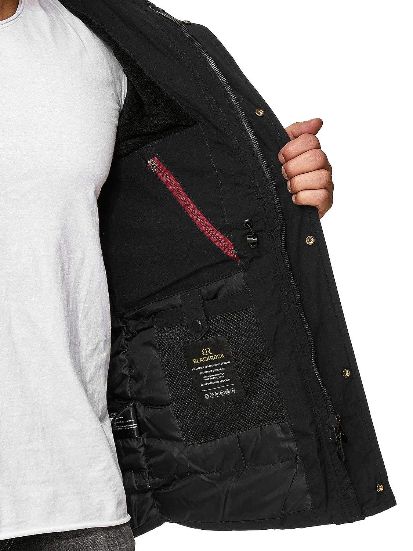Blackrock Herren Winter Jacke Einführungspreis Gefütterte warme Herrenjacke Slim Fit mit Kapuze und abnehmbarem Kunstfell
