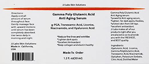 Anti Aging Serum With Gamma Poly Glutamic Acid Tranexamic Acid Licorice