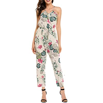 Zeagoo Women Sleeveless Wrap Front Floral Print Cami Loose Jumpsuit Overall