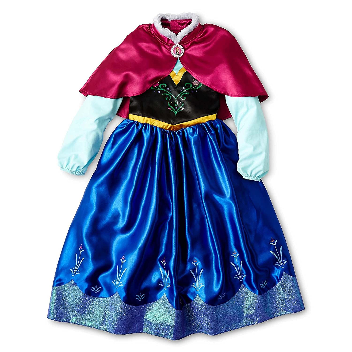 Amazon.com: Disney Frozen Annas Costume Dress with Cape Size S 5/6 ...