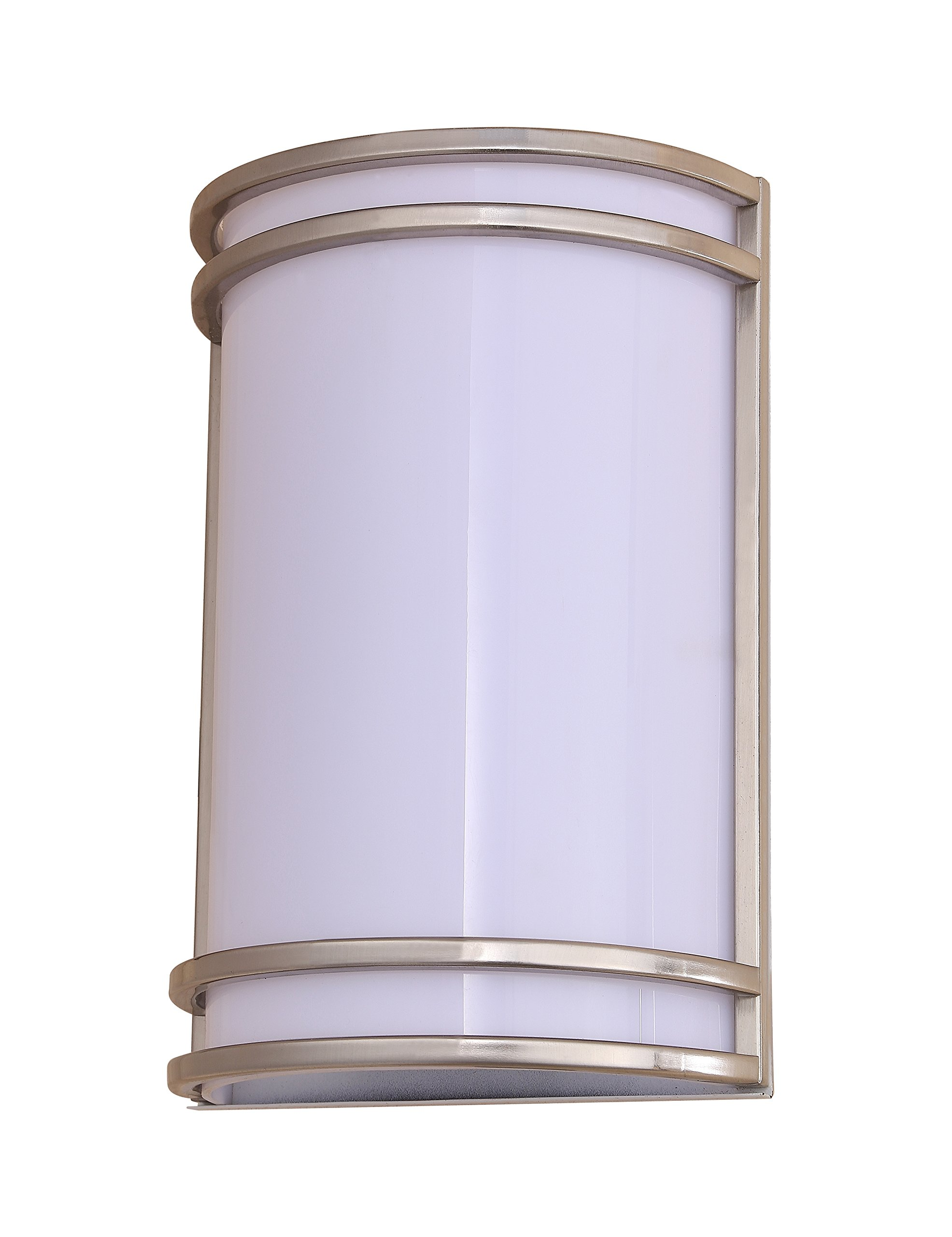 LB75110 15W LED Outdoor Wall Sconce Lighting, 10-Inch Half Cylinder Shaped, Antique Brushed Nickel, 5000K Daylight, 800 Lumens, Waterproof and Outdoor Rated ETL, Dimmable