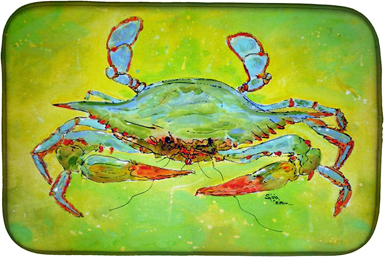 Amazon Com Caroline S Treasures 8357ddm Bright Green Blue Crab Dish Drying Mat 14 X 21 Multicolor Kitchen Dining