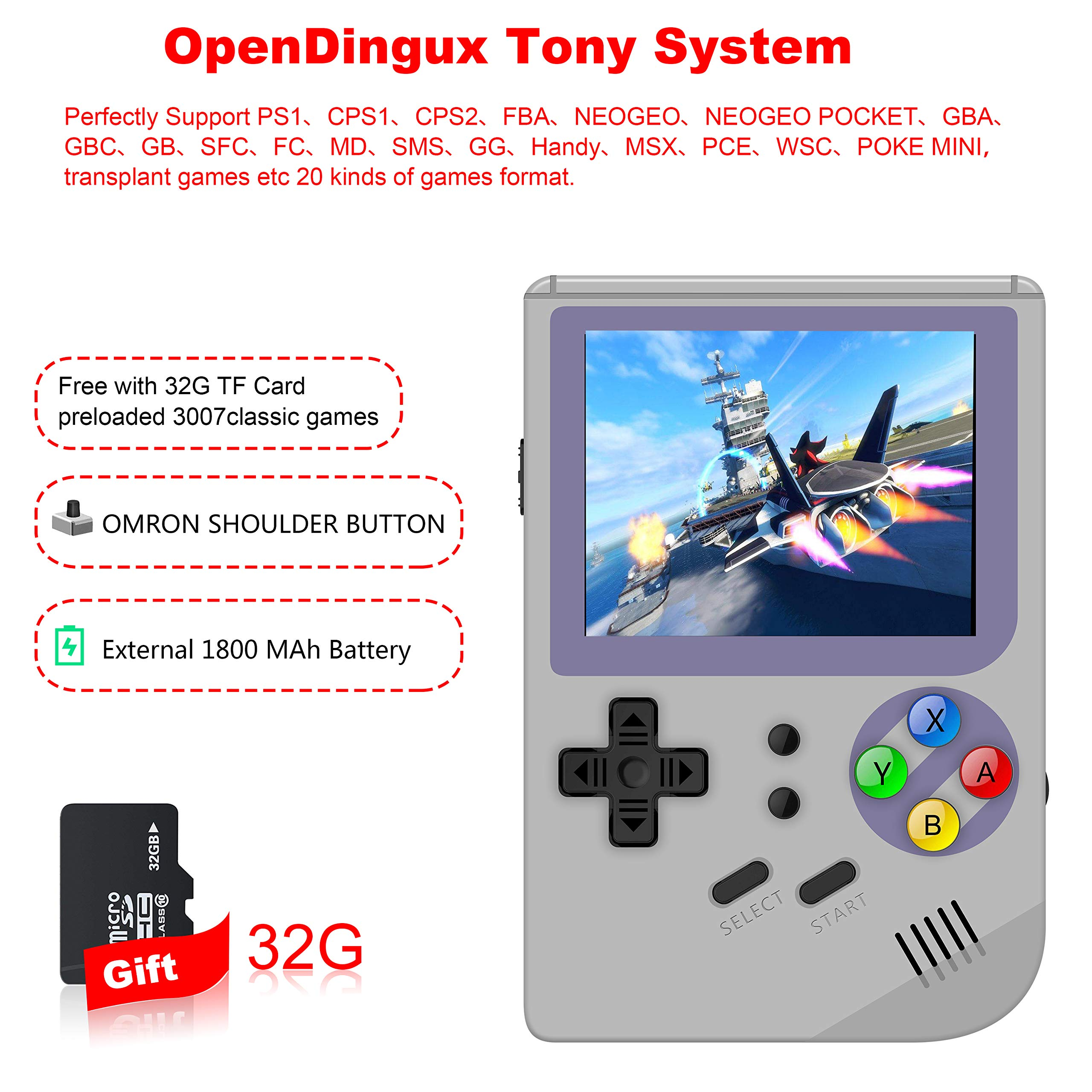 MJKJ Handheld Game Console ,RG300 Retro Game Console OpenDingux Tony System , Free with 32G TF Card Built-in 3007 Classic Game Console 3 Inch HD Screen Portable Video Game Console - Gray by MJKJ (Image #2)