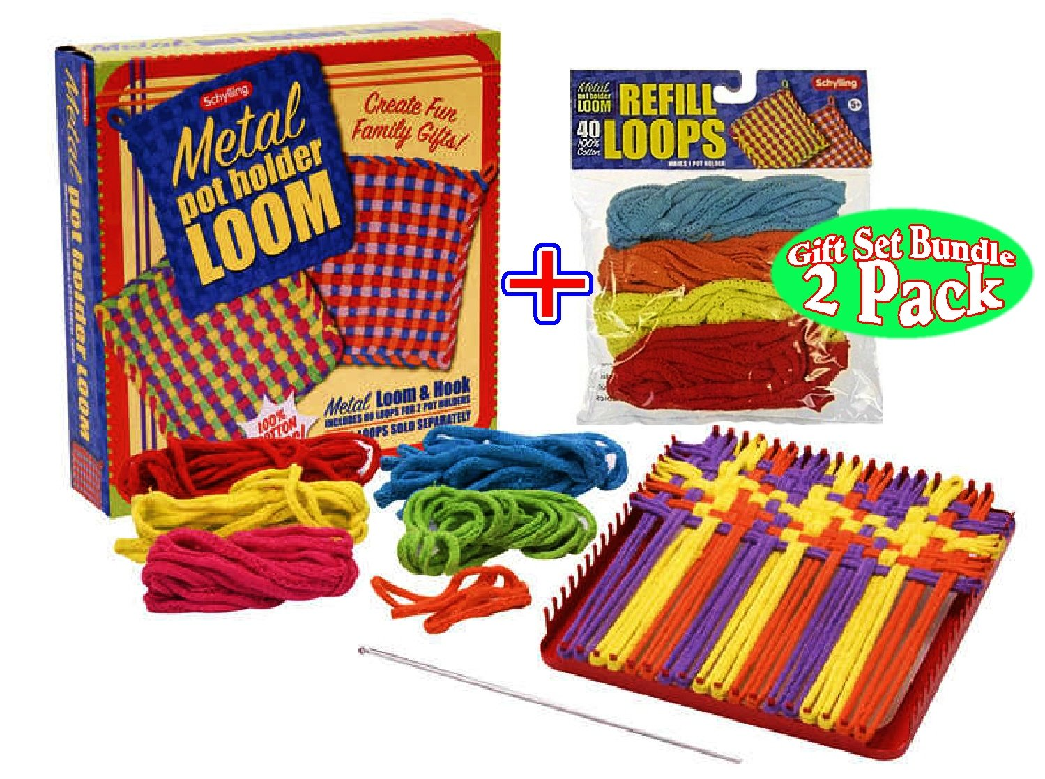 Schylling Metal Pot Holder Loom Kit & 40 Loop Refills Gift Set Bundle (Colors May Vary)