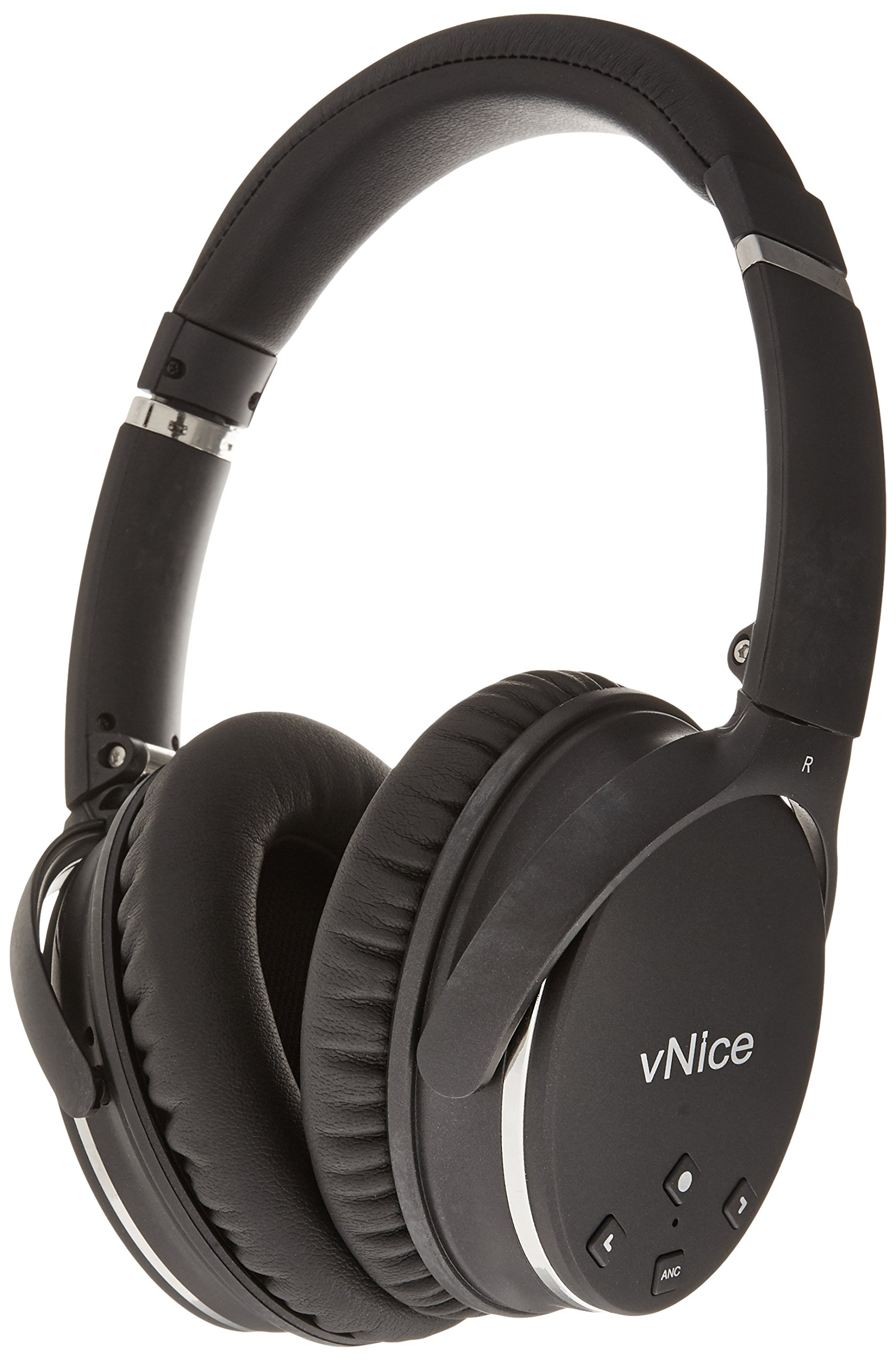 vNice Active Noise Cancelling Bluetooth Headphones with Microphone Wireless Headphones Over Ear Hi-Fi Deep Bass Comfortable Protein Earpads, 12 Hours Playtime for Travel Work TV Computer - Black