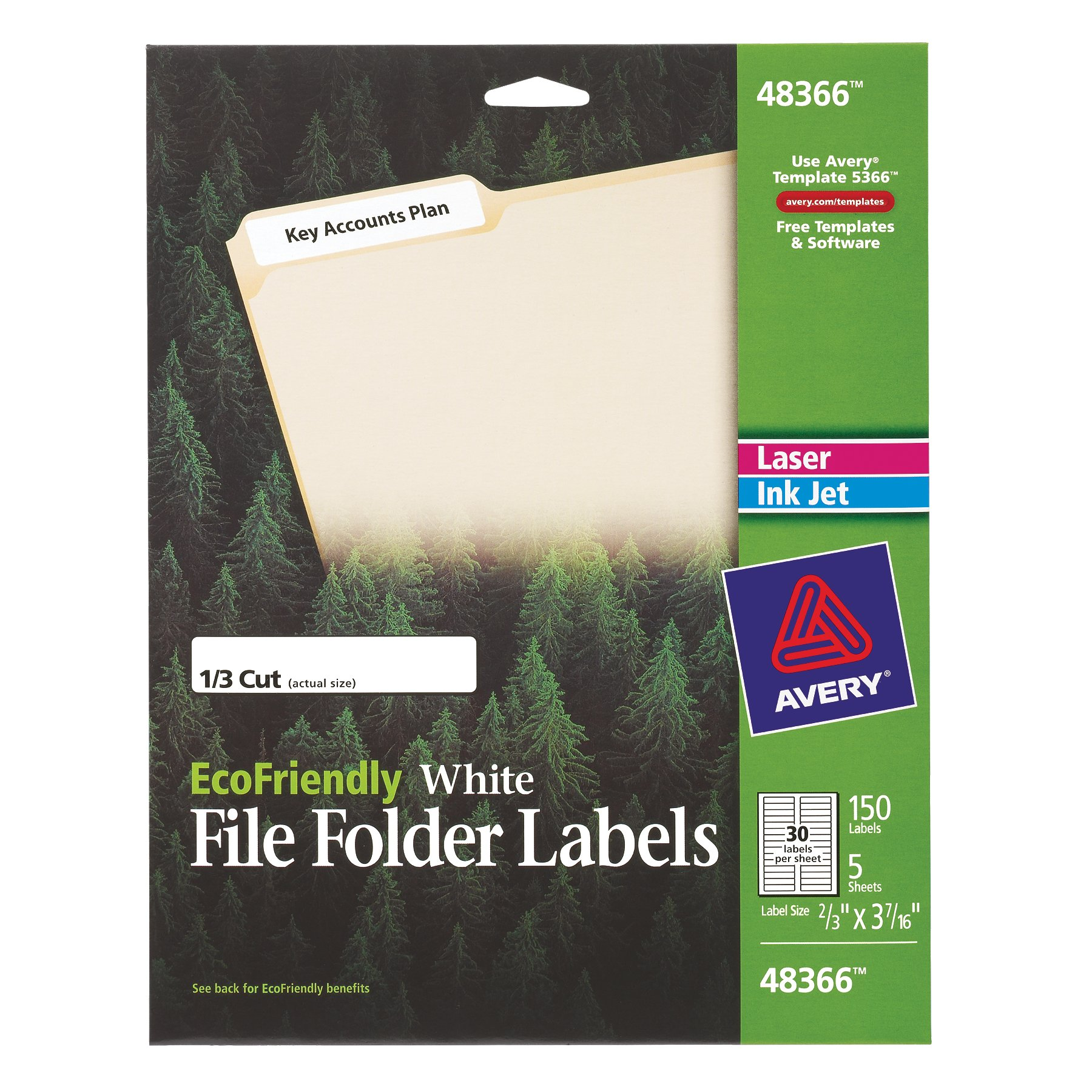 Avery EcoFriendly File Folder Labels for Laser and Ink Jet Printers, 0.66 x 3.4375 Inches, White, Permanent, Pack of 150 (48366)