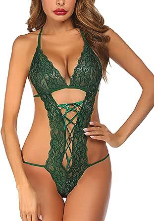 Avidlove Women Deep V Halter Lingerie Teddy One Piece Babydoll Lace Bodysuit (X-Large, Green)