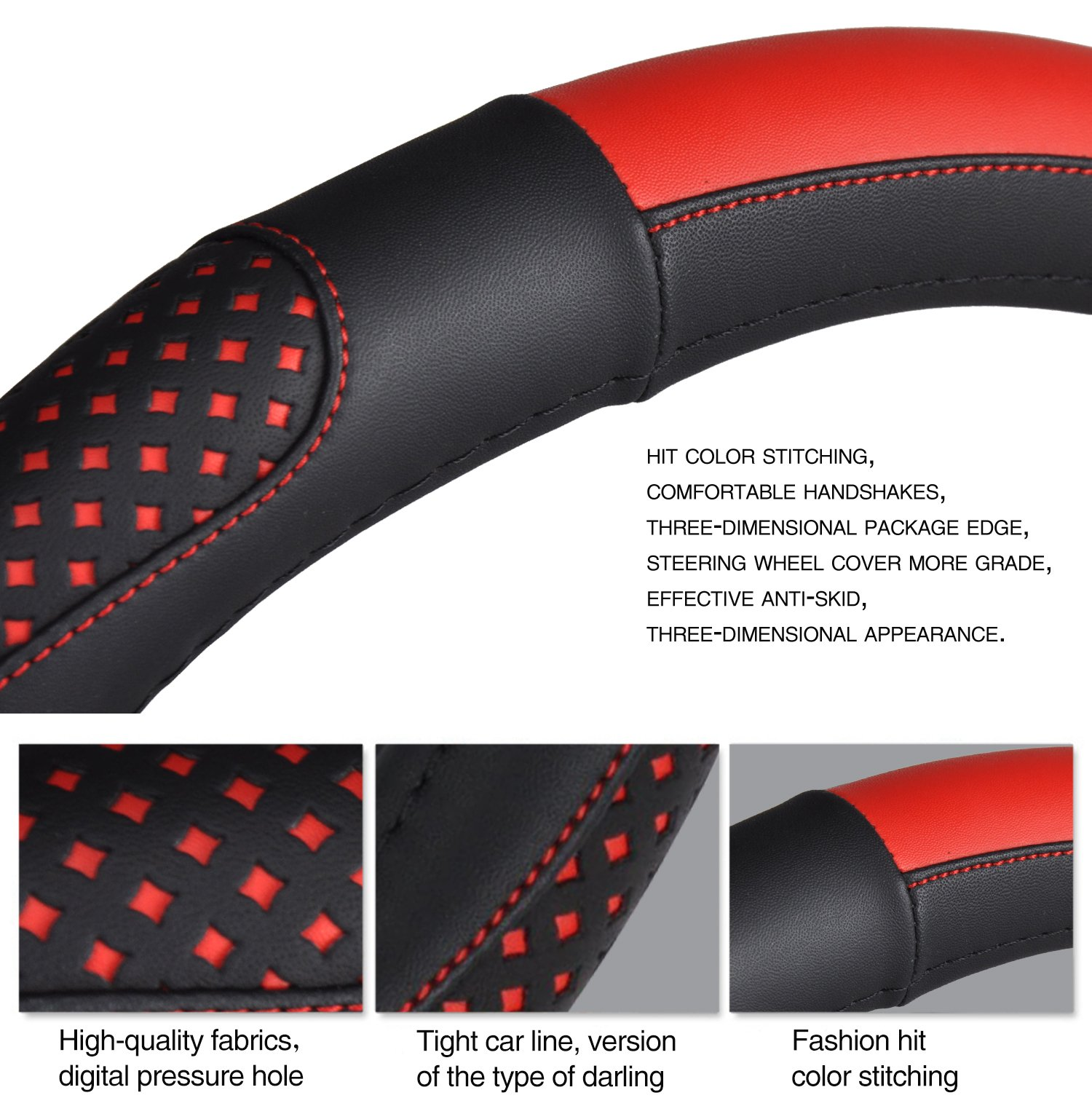 Red steering wheel cover Leather Auto Car Steering Wheel Cover Universal 15 inch Anti Slip for Auto Automotive Interior Accessories