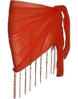 Passion4fashion Plaine moitié d'orange Coton Sarong avec des glands et Perles