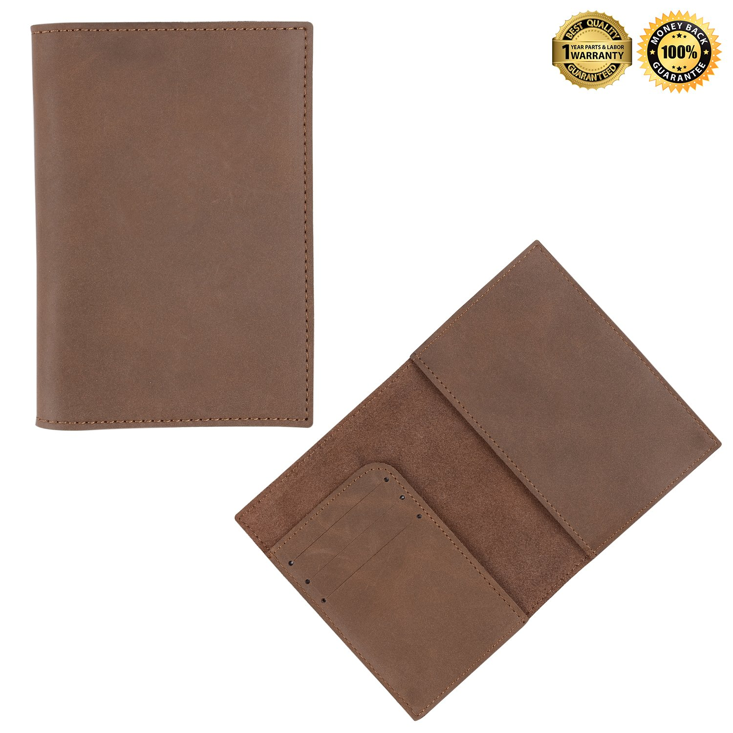 Leather Passport Holder Passport Cover Case Wallet for Men Women Travel (brown 2)