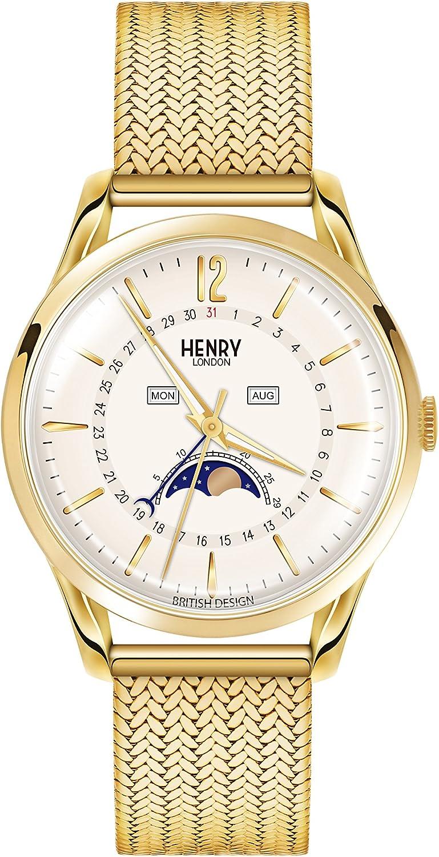 Henry London Reloj Fase Lunar para Unisex de Cuarzo con Correa en Acero Inoxidable HL39-LM-0160