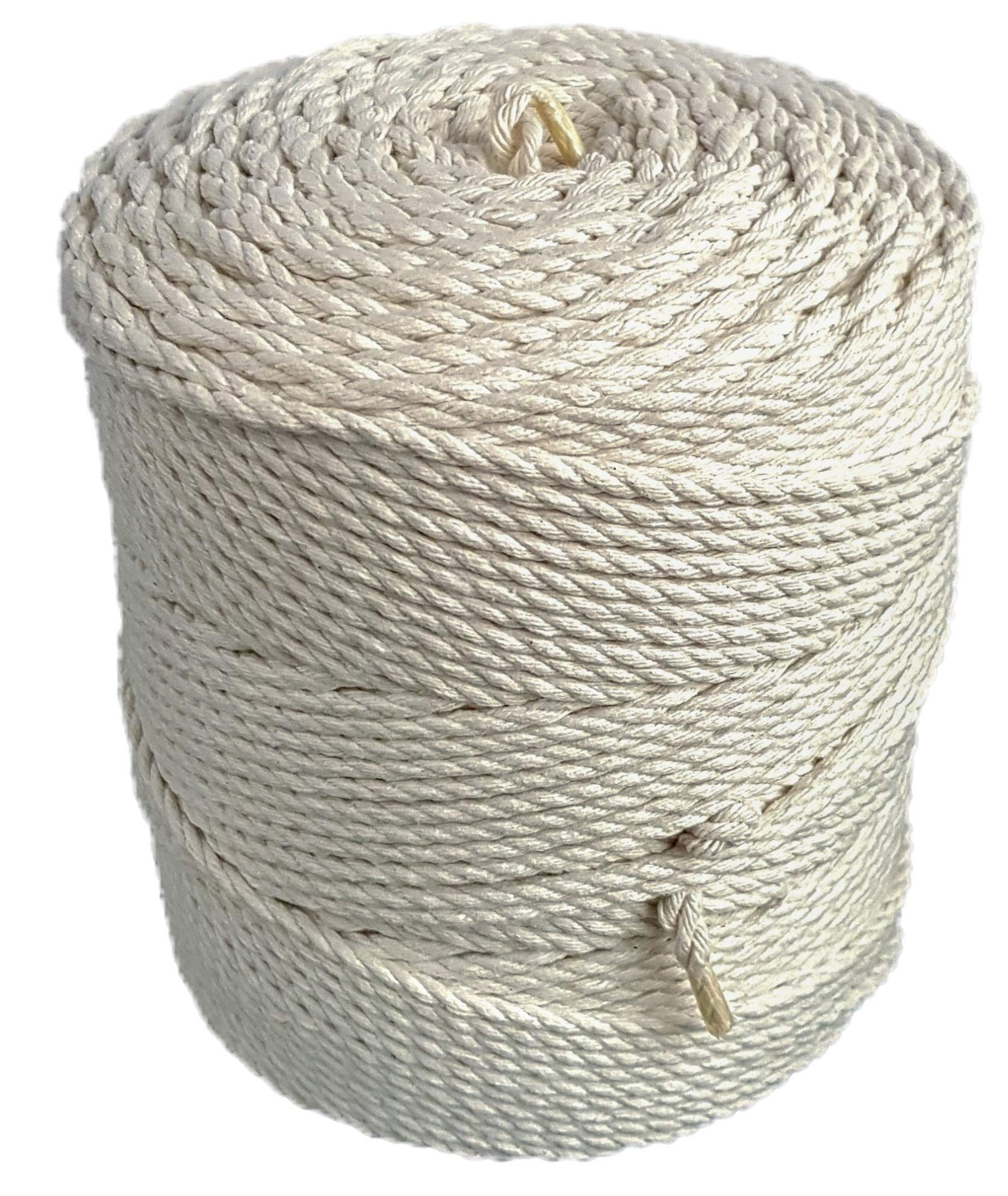 Macrame cord 4mm natural cotton cord 853 feet macrame rope 284 yd. cotton rope (4mm x 260m (about 284 yd.)) by MB Cordas (Image #2)