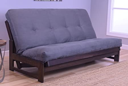Futon Mattress and Frame Aspen Reclaimed Mocha Finish and Grey Microfiber Fabric