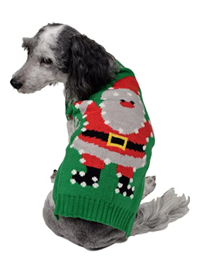rwb pet dancing santa ugly christmas dog sweater green - Ugly Christmas Dog Sweater