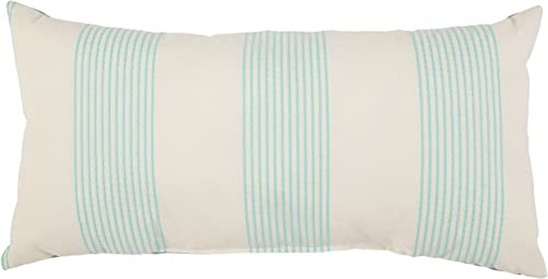 Amazon Brand Stone Beam Casual Outdoor Stripe Throw Pillow – 24 x 12 Inch, Teal