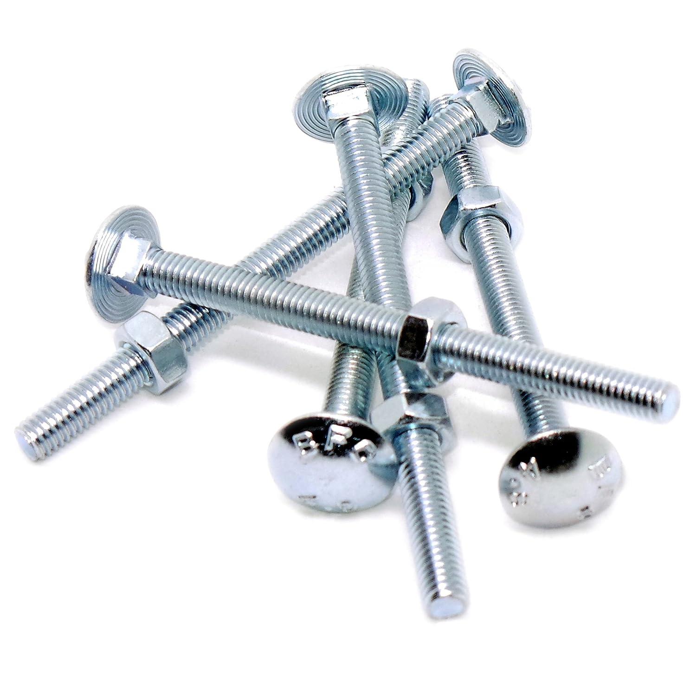 10 x M6x50 Boulons t/ête ronde collet carr/é M5-M12 Vis TRCC avec /Écrou et Rondelle en acier galvanis/é choix