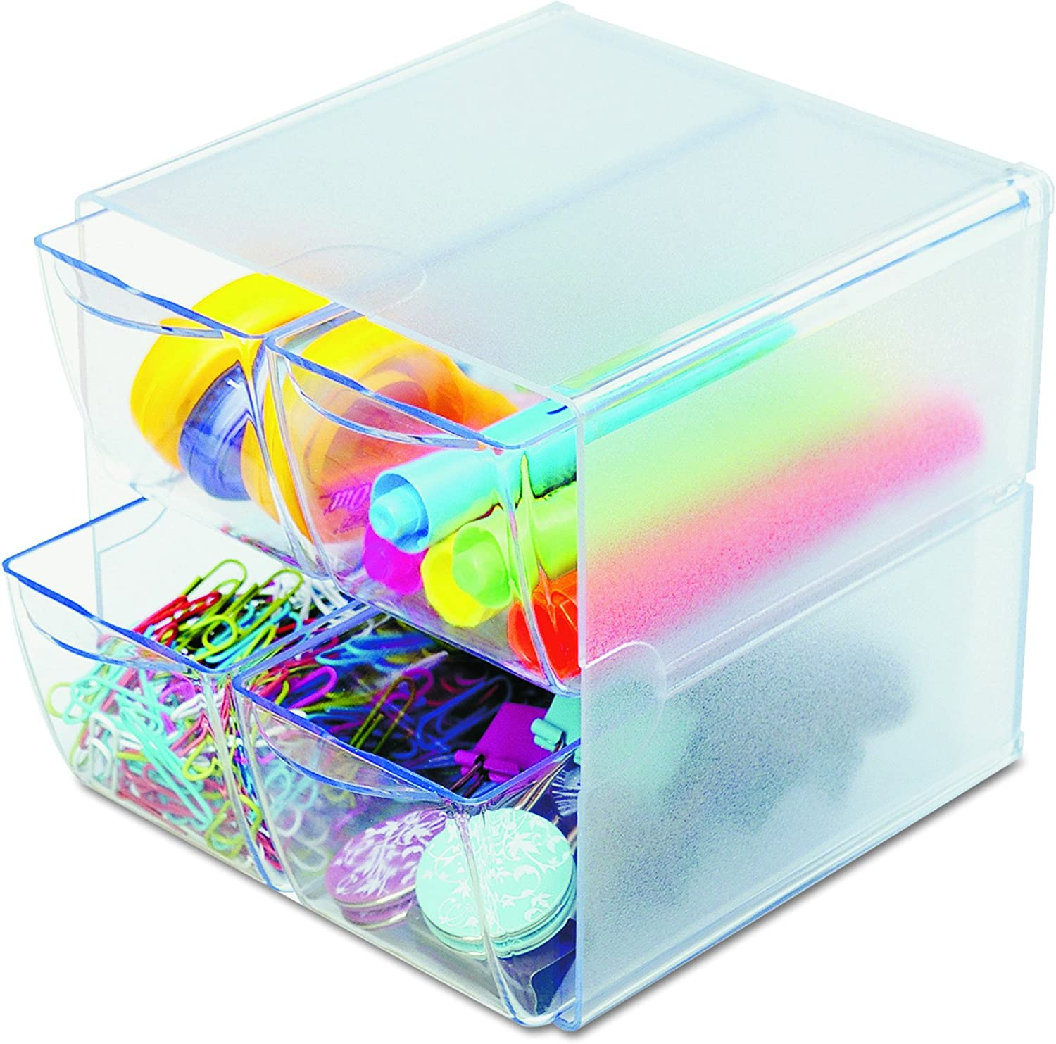 "Deflecto Stackable Cube Organizer, Desk and Craft Organizer, 4 Drawers, Clear, Removable Drawers and Dividers, 6""W x 6""H x 7 1/8""D (350301)"