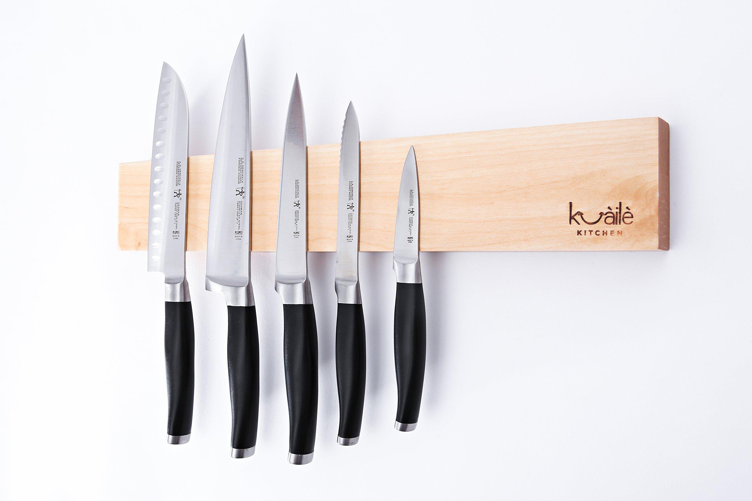 Heavy Duty Knife Holder, Maple Wood Magnetic Knife Bar, Knife Storage Strip 18''