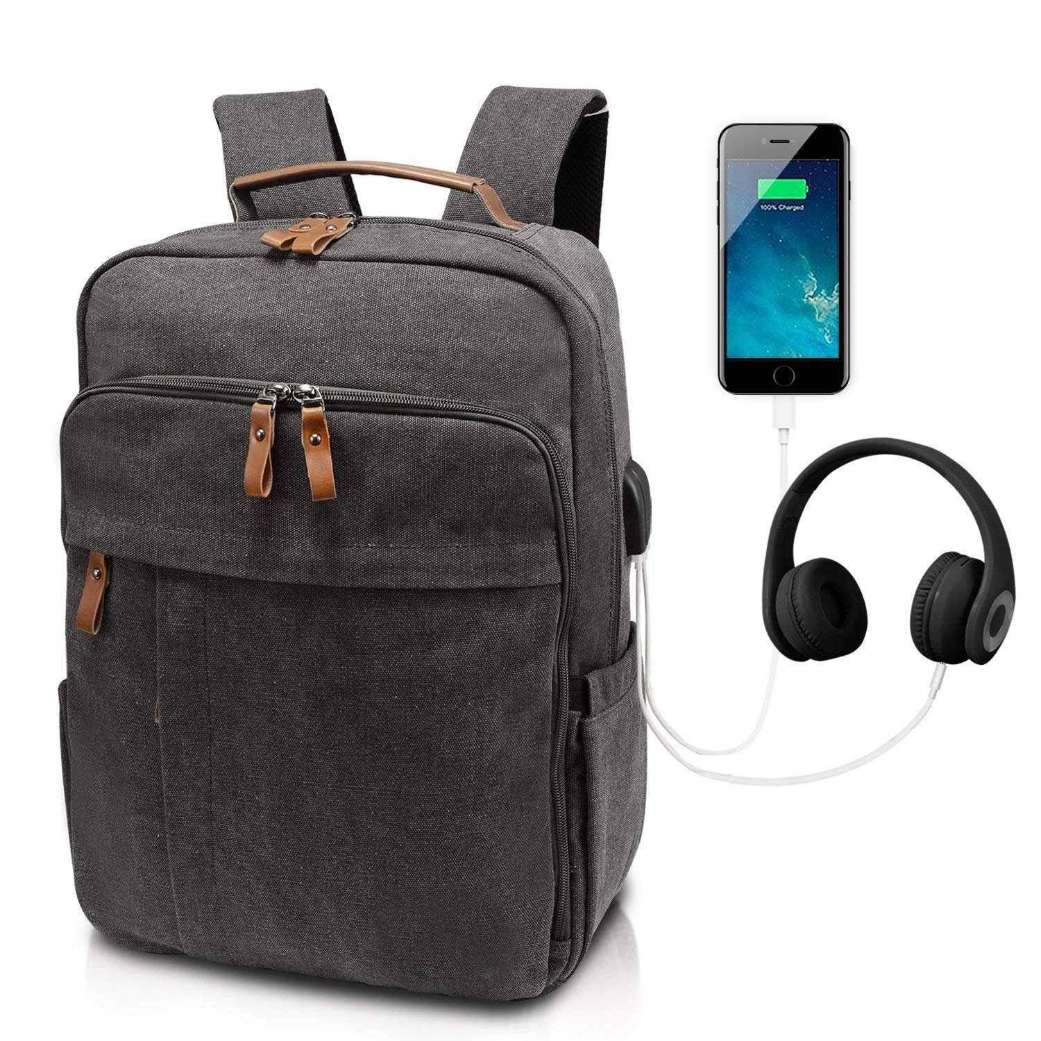 Business Laptop Backpack 15-15.6 Inch w/USB Charging Port Water-Resistant Canvas Backpack for Work College School Travel