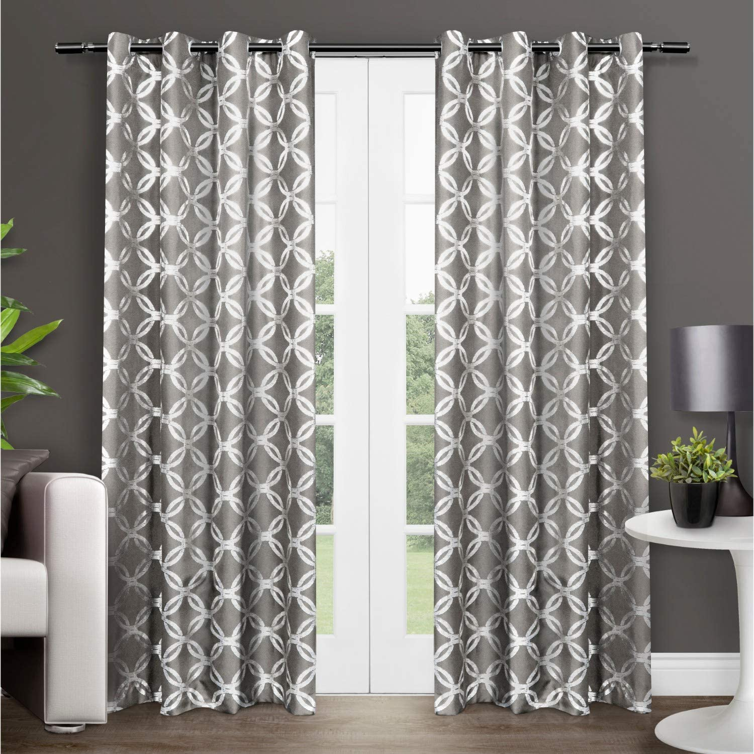 Exclusive Home Curtains Modo Metallic Geometric Window Curtain Panel Pair with Grommet Top, 54x96, Black Pearl, 2 Piece