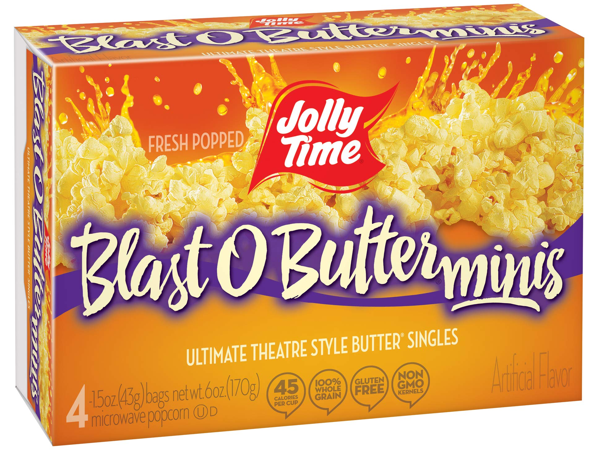 Jolly Time Blast O Butter Movie Theater Microwave Popcorn Mini Bags, 4-Count Boxes (Pack of 12) by Jolly Time (Image #1)