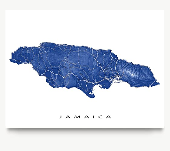 Amazon jamaica map print tropical caribbean island street jamaica map print tropical caribbean island street art kingston negril montego sciox Images