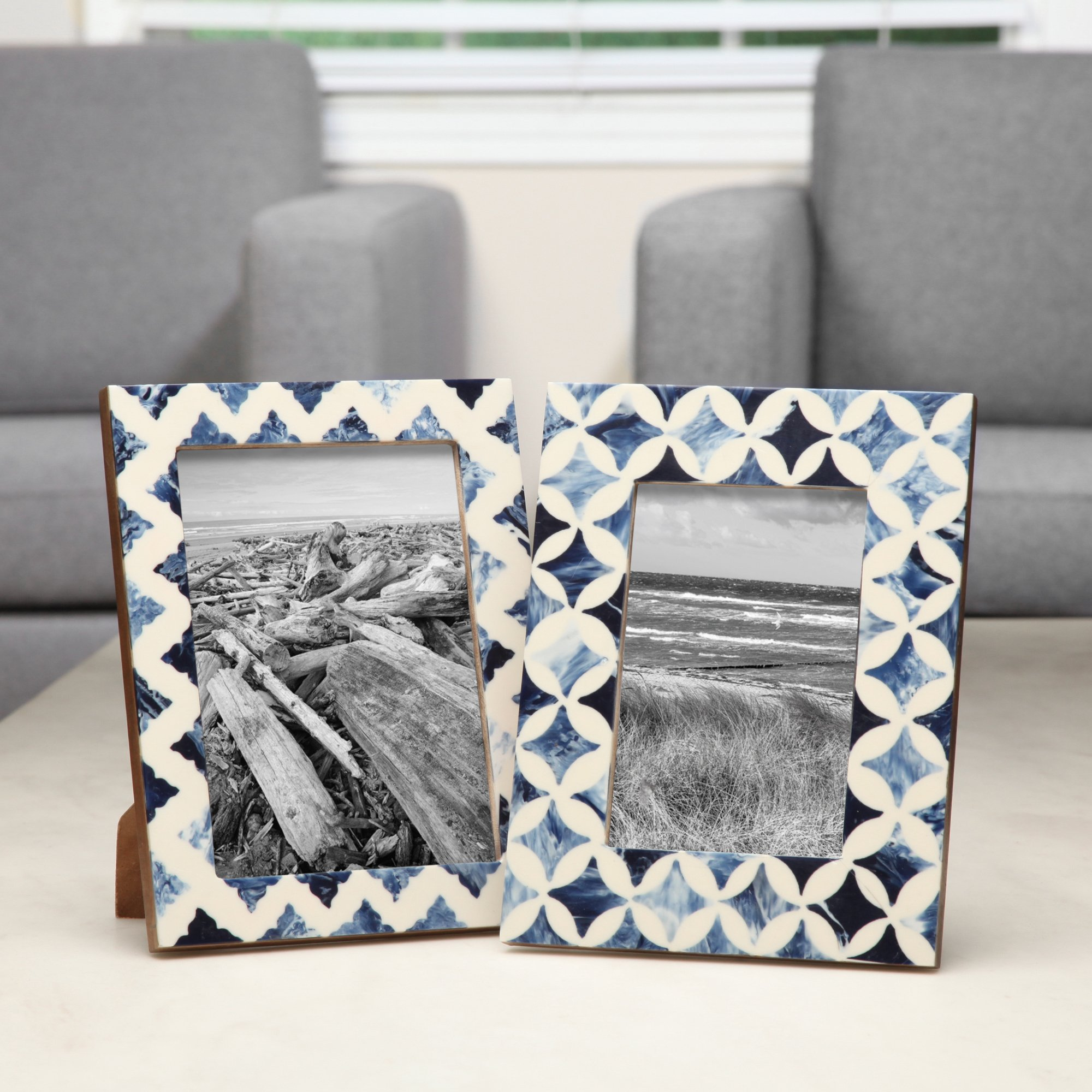 Hosley Blue Resin Tabletop Picture Frame, 5x7. Ideal Gift for Home, Wedding, Party. Home Office, Spa P2