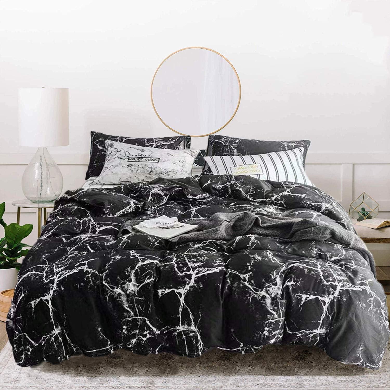Jumeey Black Marble Comforter Set Queen Marble Bedding Set Full Size Black and Grey Comforter Set Cotton Boys Men Abstract Black Comforter Queen Set