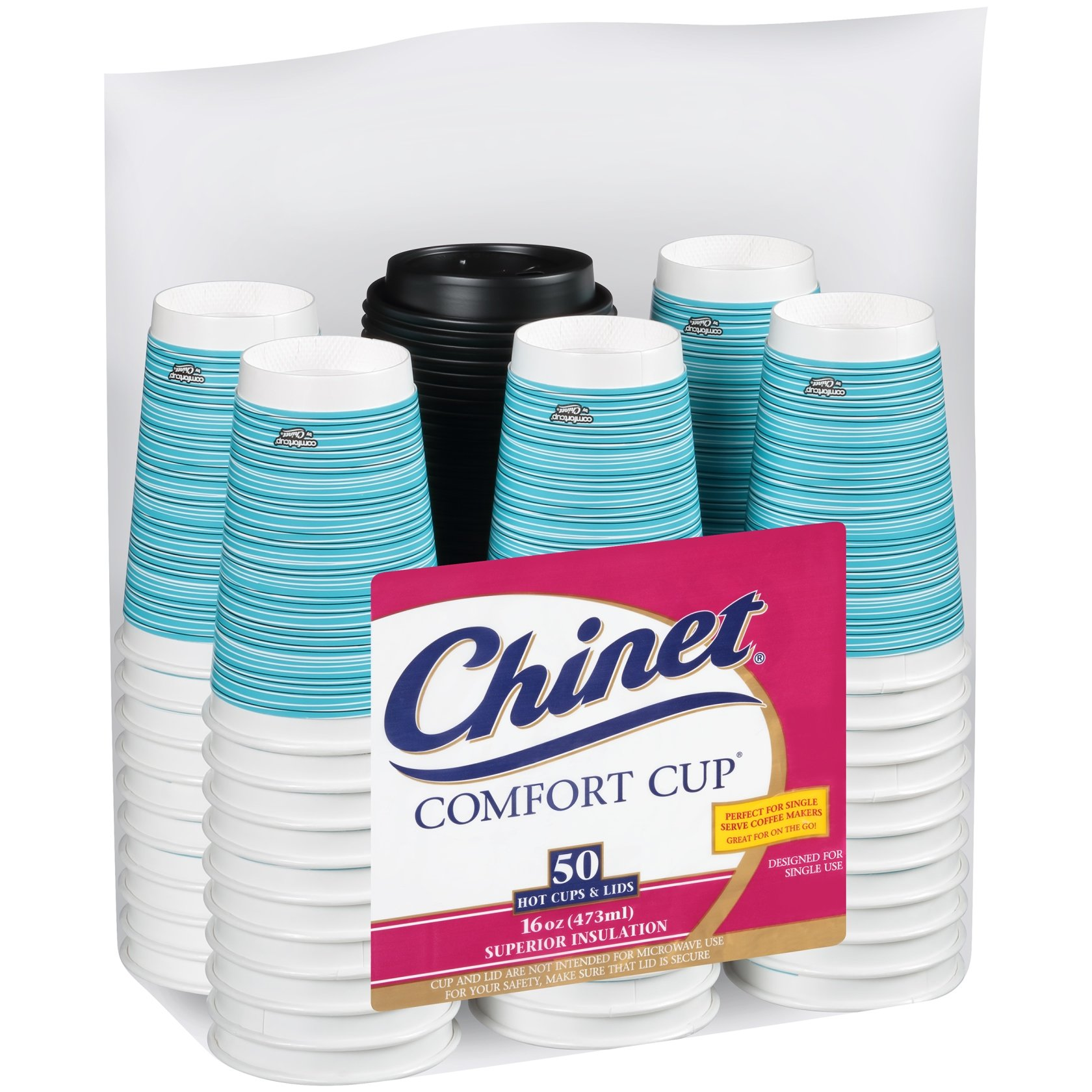 Chinet Comfort Cup 16-Ounce Cups, 50-Count Cups & Lids (Assorted Colors)