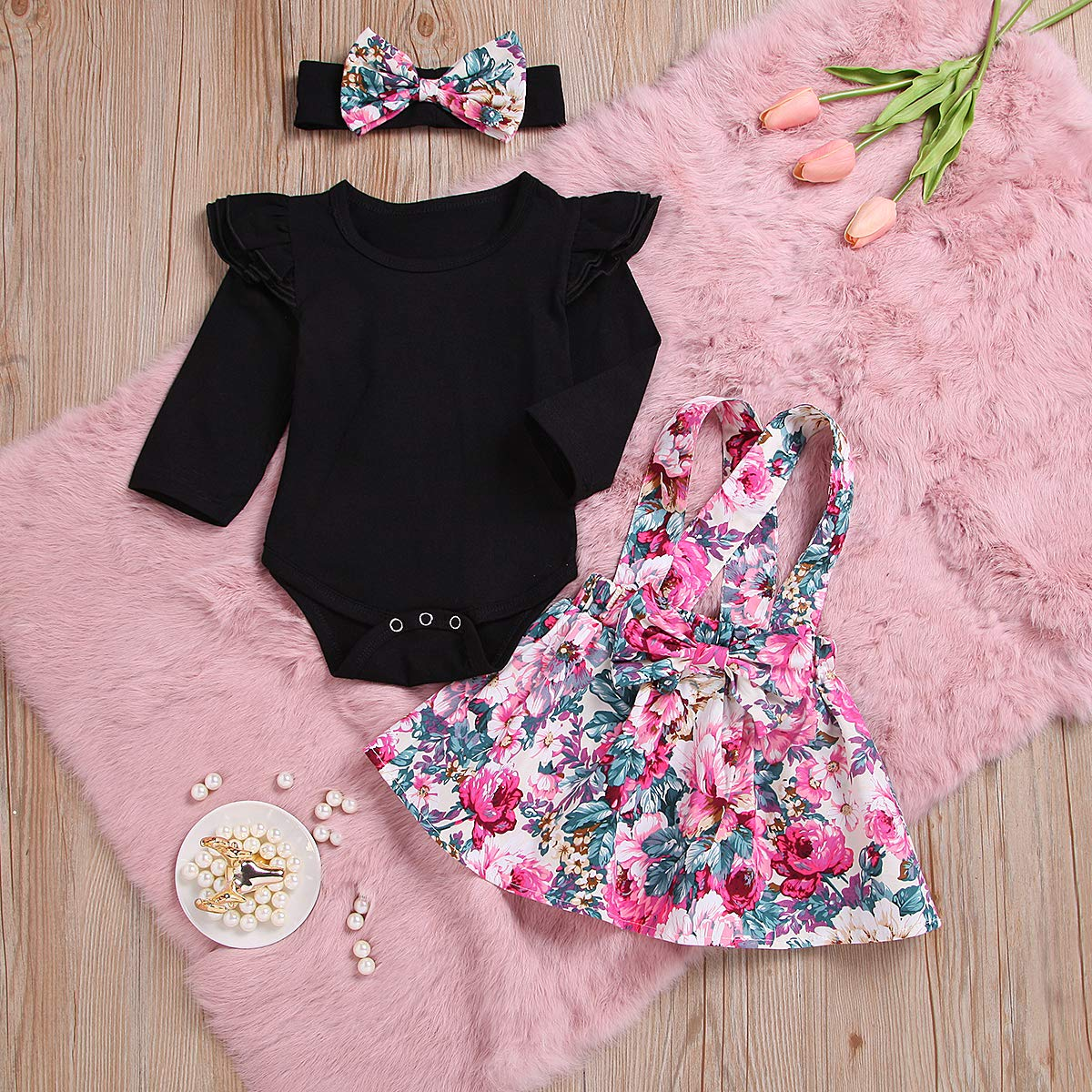 Toddler Infant Baby Girl Ruffle Romper Bodysuit Floral Overall Skirt Set Cotton Outfits