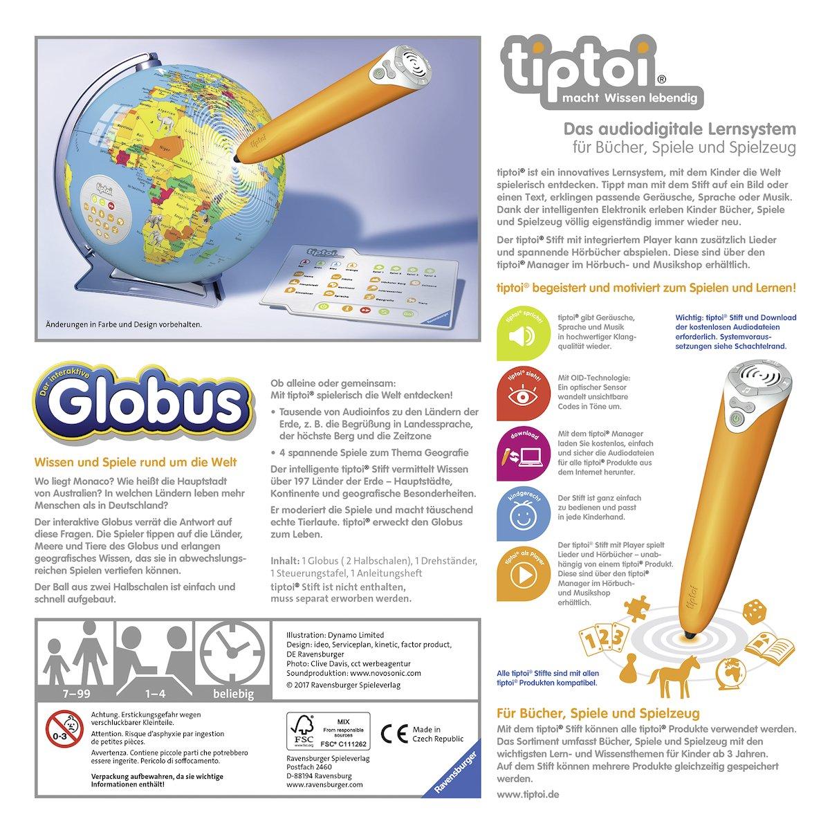 Ravensburger 00787 - Tiptoi Interaktiver Globus 17, Spiel: Amazon.de ...