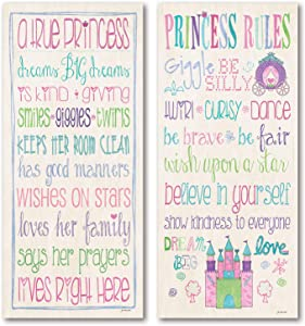 Adorable Princess Rules and A True Princess Set; Great for a Child's Room or Nursery; Two 8x18in Poster Print. Pink/Teal/Purple