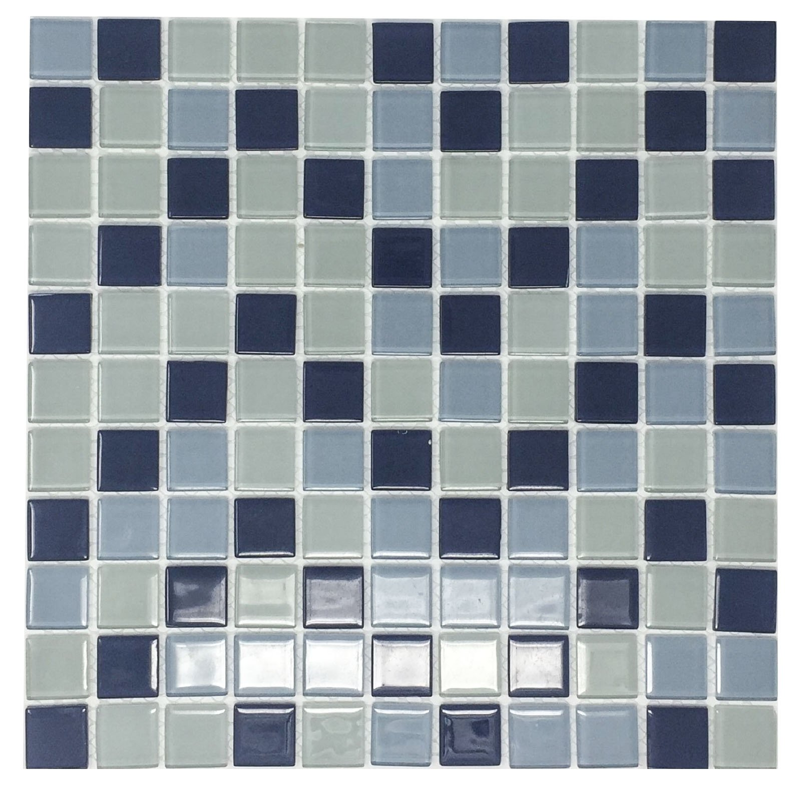 Glass Mosaic Tile, Square Collection, LAZUL - Mixed Blue Squares, 1''X1'' Square, 12''X12''X1/8'' (Lot of 50 Sheets)