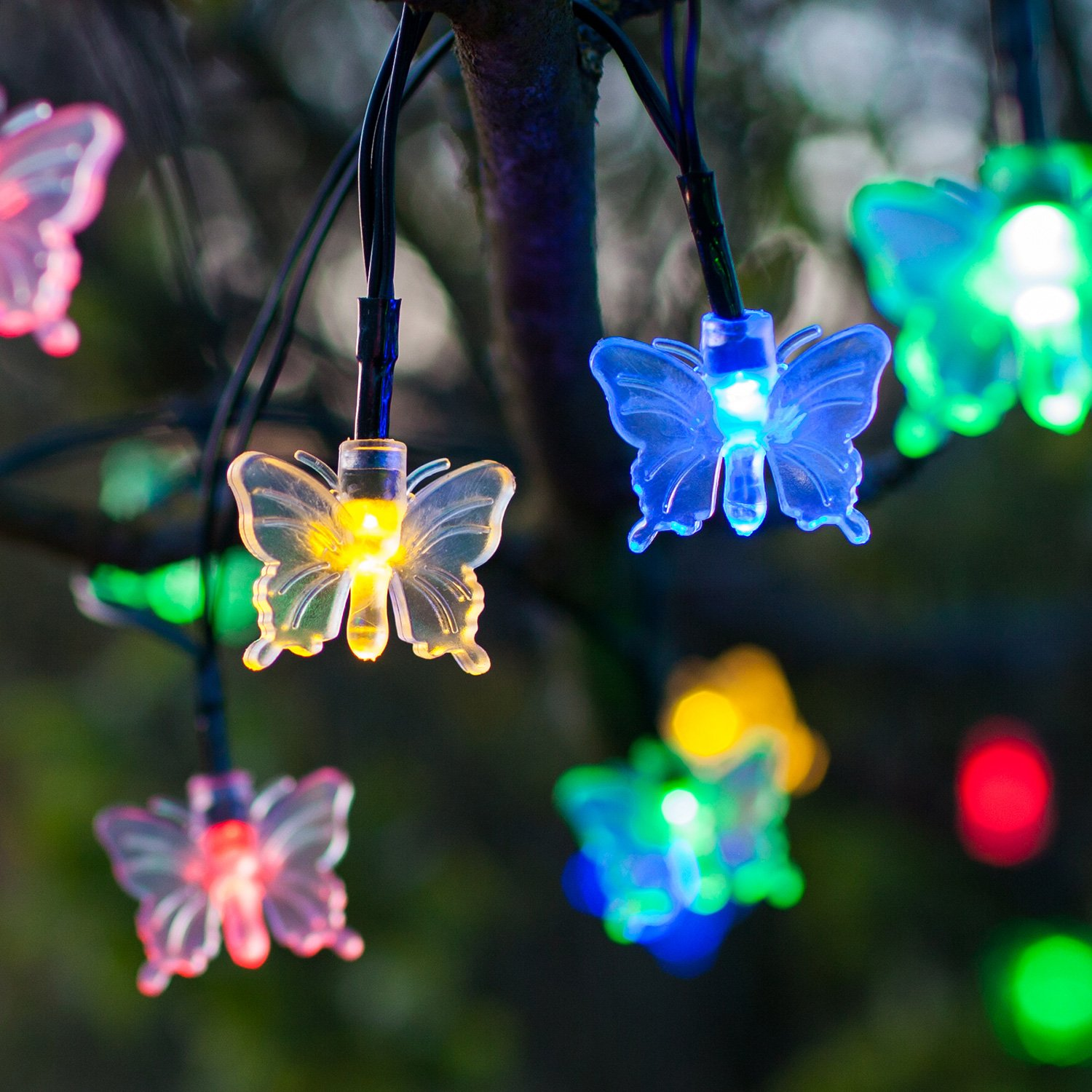 30 multi coloured led butterfly solar garden fairy lights by 30 multi coloured led butterfly solar garden fairy lights by lights4fun amazon lighting mozeypictures Gallery