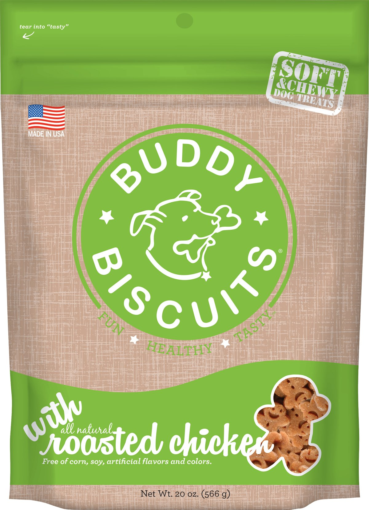 dog supplies online buddy biscuits soft & chewy healthy dog treats with roasted chicken - 20 oz.
