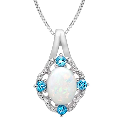 1 ct Created Opal and 1 6 ct Swiss Blue Topaz Pendant Necklace with Diamonds in Sterling Silver