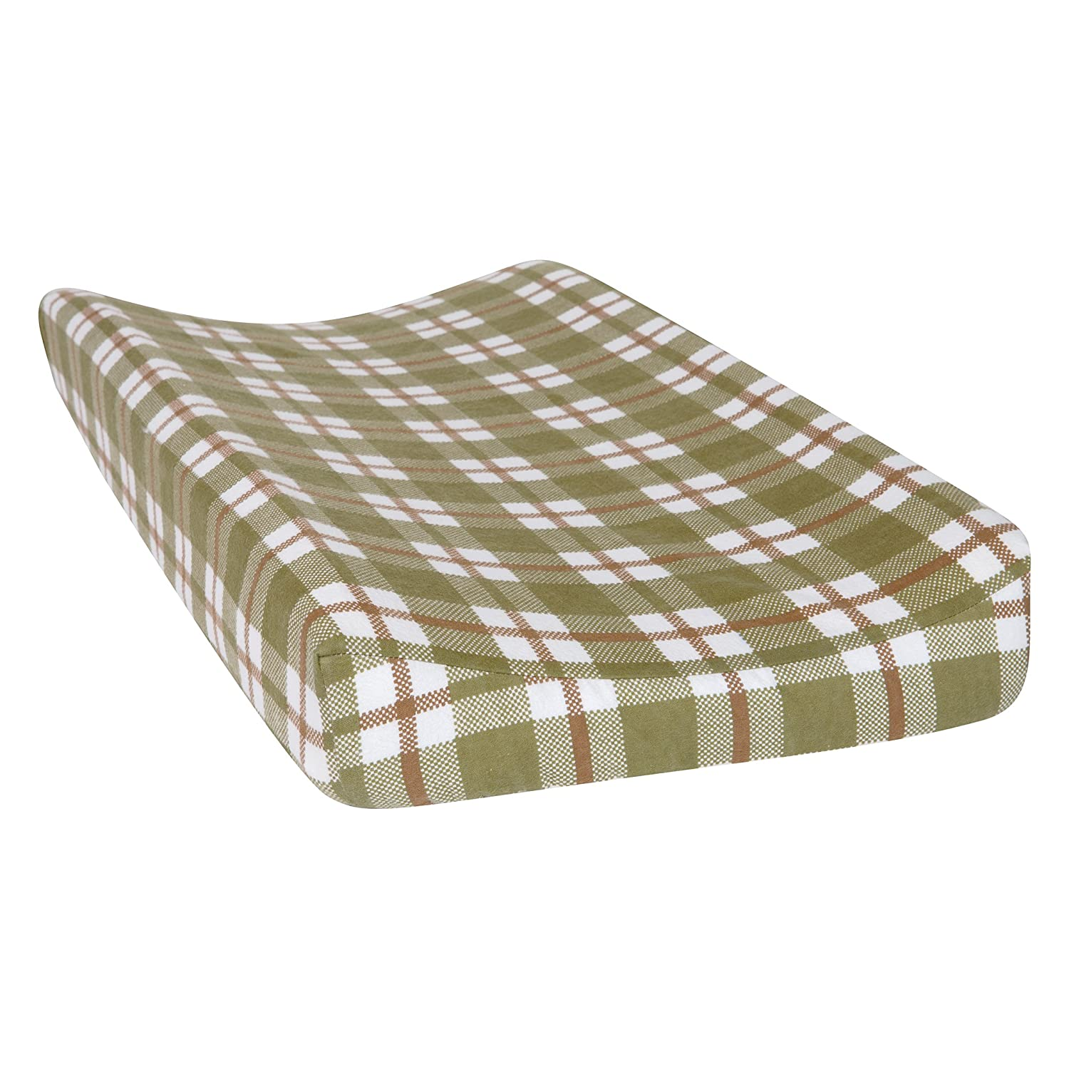 Trend Lab Plaid Deluxe Flannel Changing Pad Cover, Sage/Brown/Cream 102749