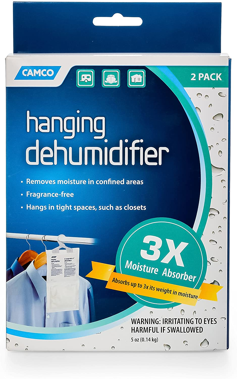 Camco 44286 Fragrance Free Hanging Dehumidifier - Convenient Hook Absorbs Up to 3x Its Weight in Water, Reduces Moisture and Humidity in Closets and Tightly Confined Spaces - 2 Pack