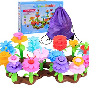 FANIMETO Gifts for 3-6 Year Old Girls Flower Garden Building Set 54 PCS Arts and Crafts for Girls Birthday Gifts Christmas