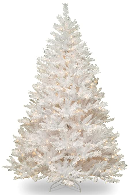 Superior National Tree 7 Foot Winchester White Pine Tree With Silver Glitter And 450  Clear Lights,