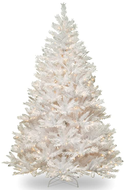 Christmas Tree White Lights.National Tree 7 Foot Winchester White Pine Tree With Silver Glitter And 450 Clear Lights Hinged Wchw7 300 70