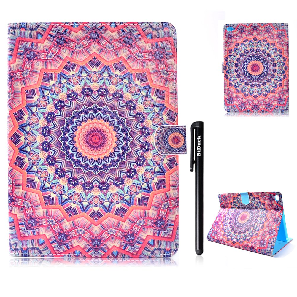 BtDuck Leather Case for Apple iPad Air / iPad 5 Kaleidoscope Mandala Flower Religious Buddhism Flowers Blue Gun Target Shape Clear Elegant Stand Tablet Shell Protector Painted Leather Flip Folio Cover Anti-slip Skin Outdoor Protection Shockproof Anti-scrat